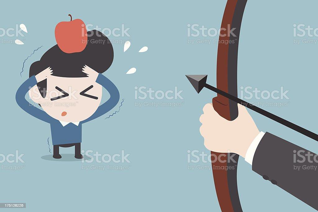risk man and apple vector art illustration