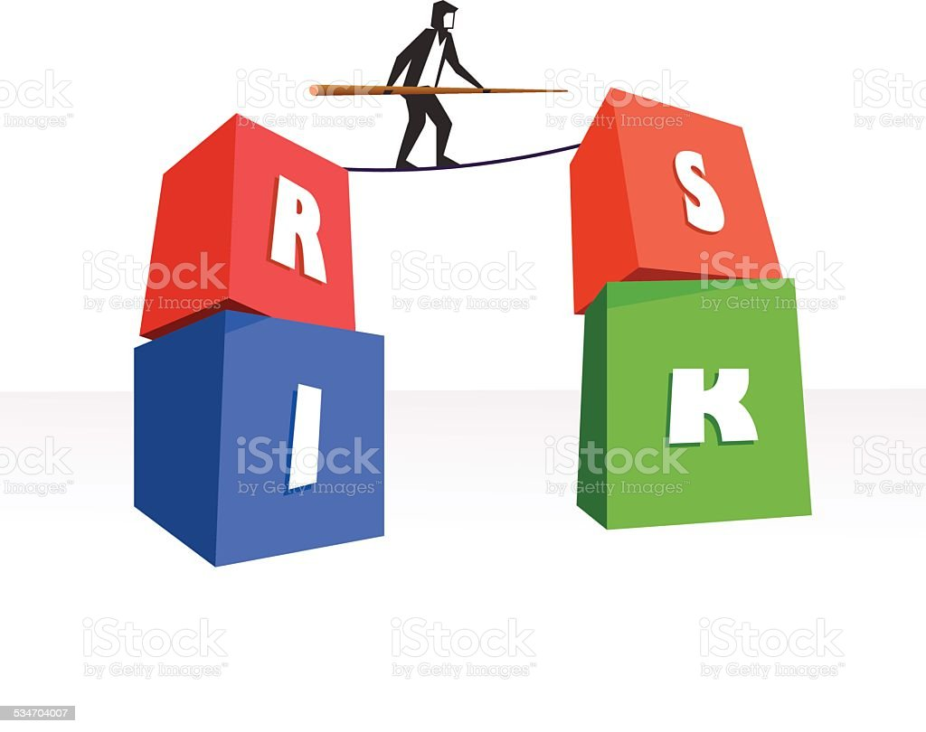 Risk Management or Business man on a tight rope vector art illustration