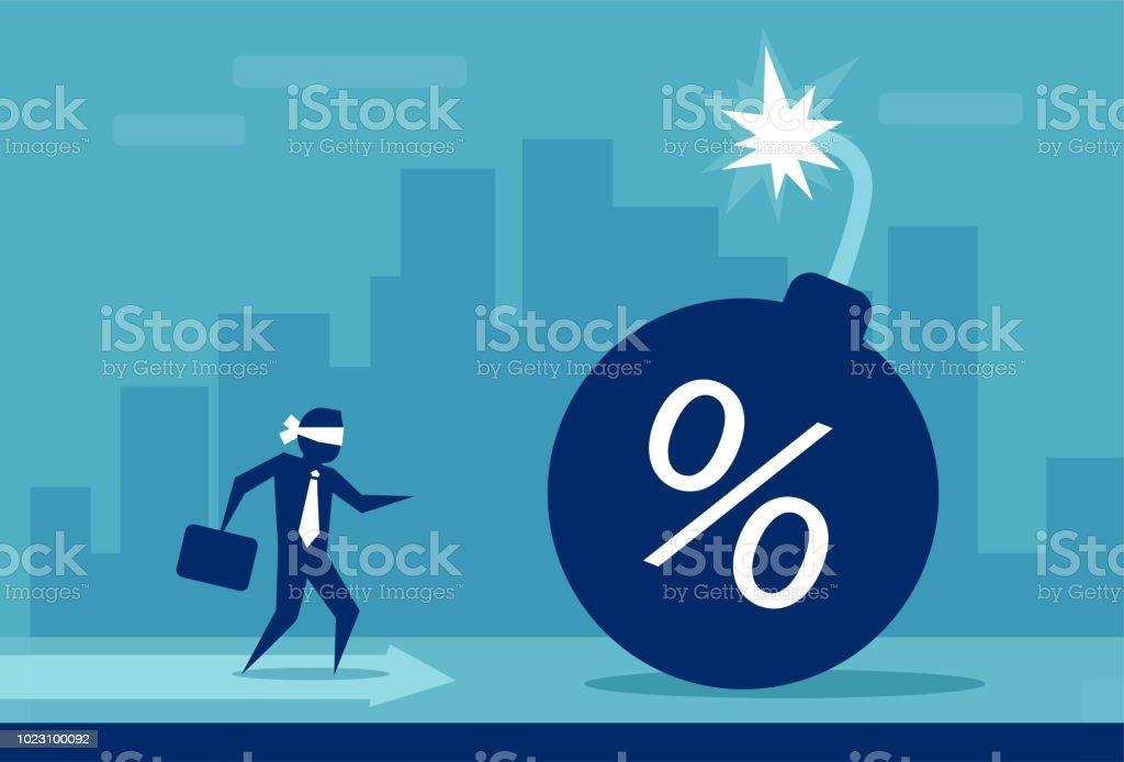 Risiko für die Kreditaufnahme Konzept Geld – Vektorgrafik