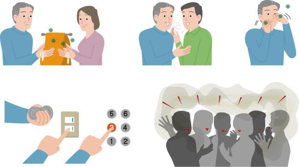 illustrazioni stock, clip art, cartoni animati e icone di tendenza di rischio di infezione virale. anziani. - near
