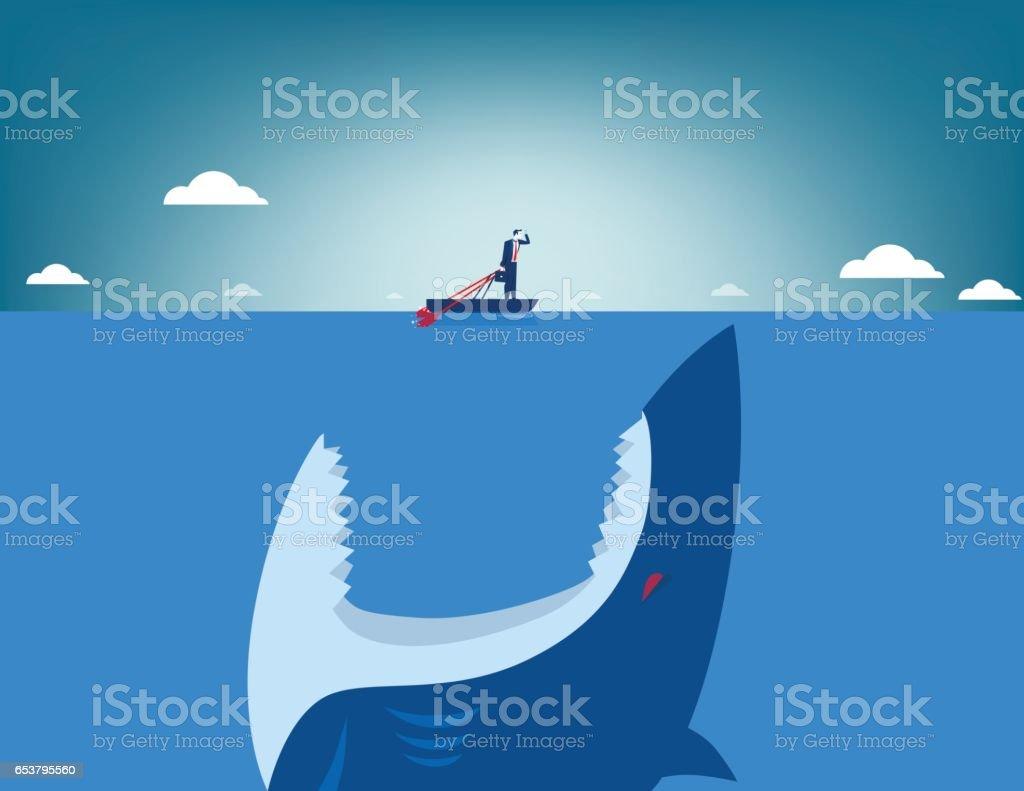 Risk. Shark attacking businessman. Concept business illustration. Vector flat vector art illustration