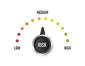 Risk Speedometer, great design for any purposes. Danger symbol. Vector illustration