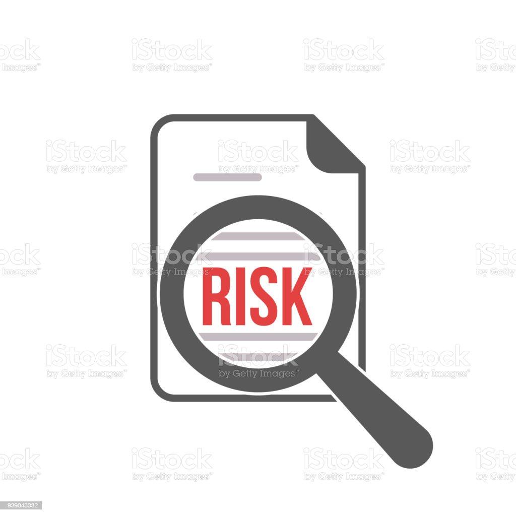 Risk Word Magnifying Glass vector art illustration