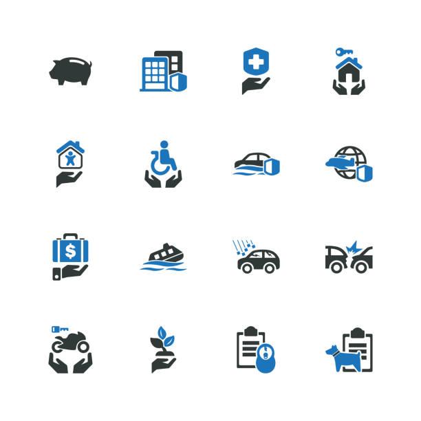 illustrazioni stock, clip art, cartoni animati e icone di tendenza di risks & insurance icons - grandine