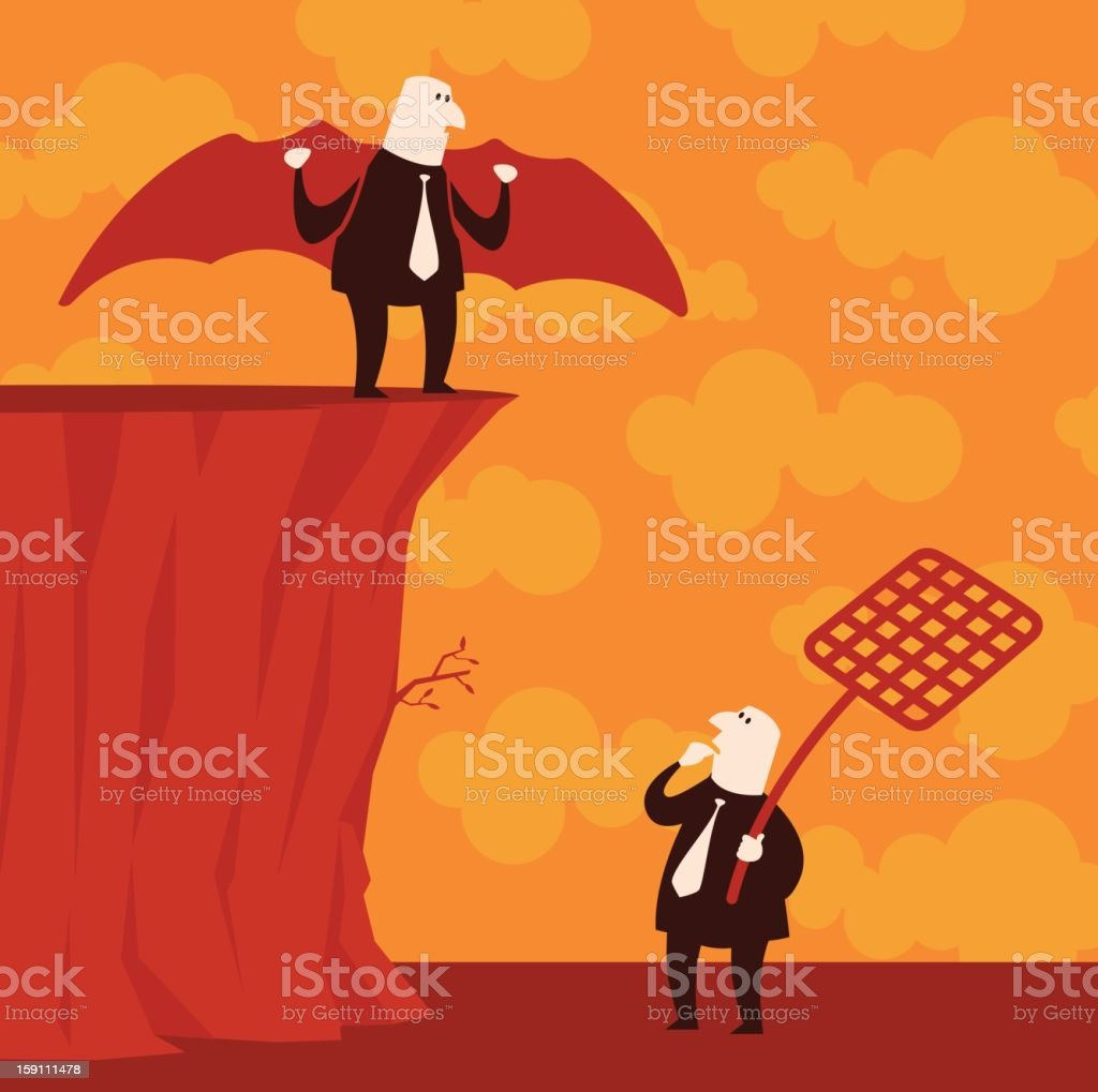 Risky waiting under the cliff royalty-free stock vector art
