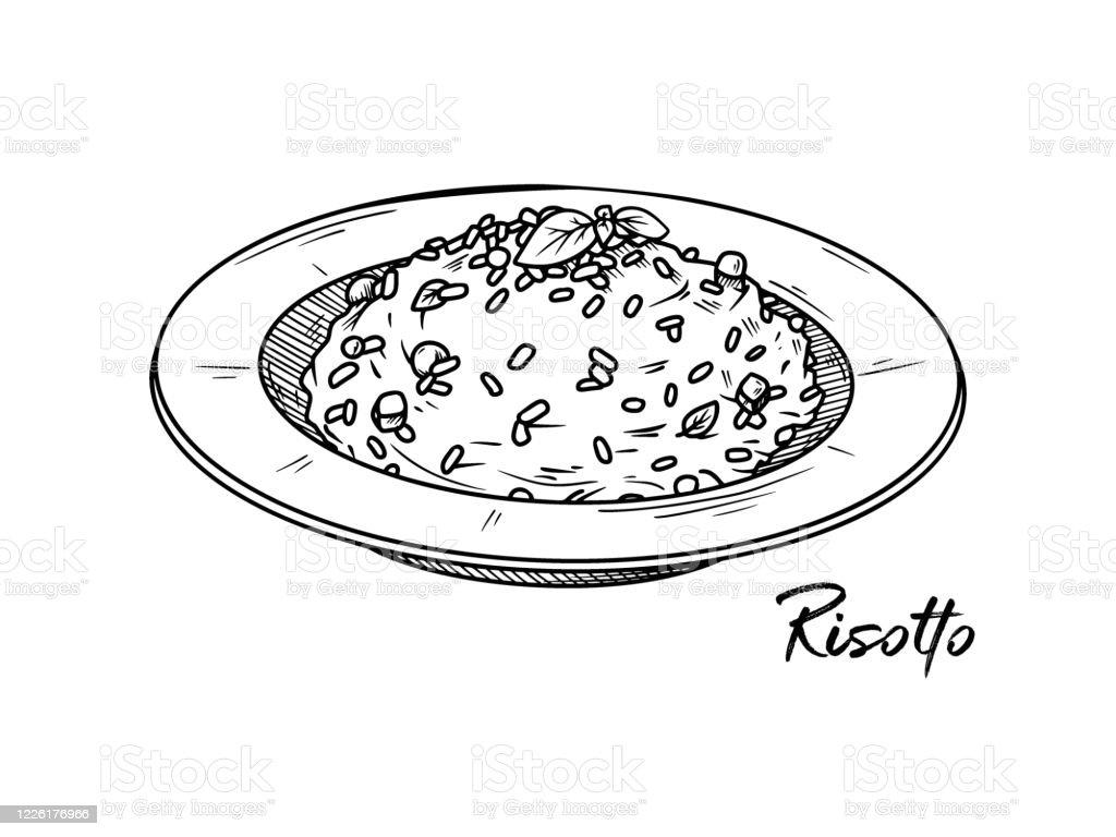 Risotto isolé sur un fond blanc. Croquis de plats italiens. Illustration de vecteur dans le modèle de croquis. - clipart vectoriel de Aliment libre de droits