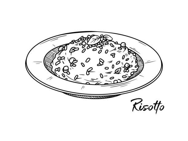 illustrations, cliparts, dessins animés et icônes de risotto isolé sur un fond blanc. croquis de plats italiens. illustration de vecteur dans le modèle de croquis. - risotto