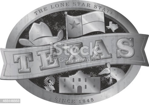 Stylized Texas Belt Buckle with various Texas design elements. Such as a cowboy hat, the Texas flag, an armadillo, a winmill and the Alamo