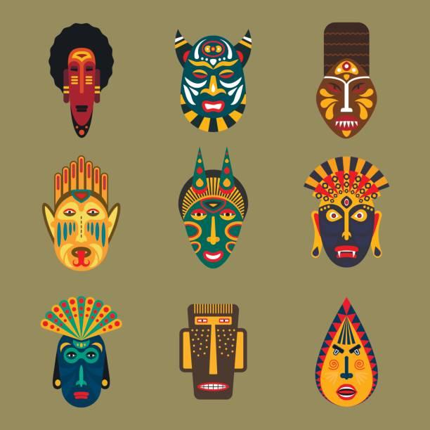 ilustrações de stock, clip art, desenhos animados e ícones de ritual ethnic mask set in flat style. collection of african tribal mask icons. - afro latino mask