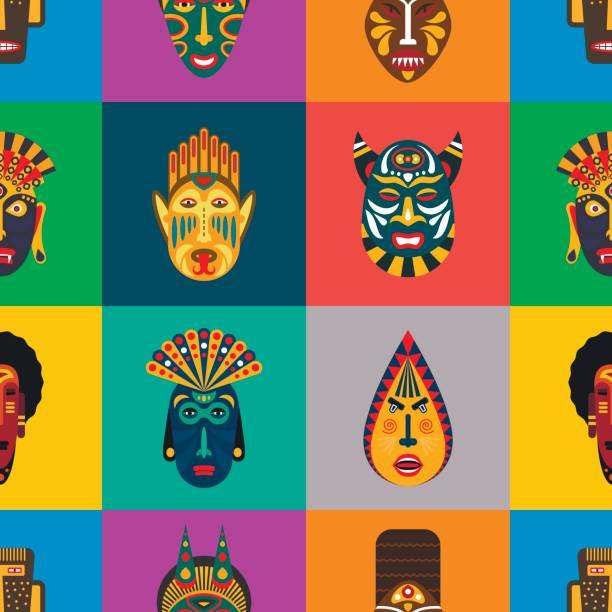 ilustrações de stock, clip art, desenhos animados e ícones de ritual ethnic masks seamless pattern in flat style. vector background of african tribal masks. - afro latino mask