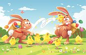 Two easter bunnies on a meadow. One is throwing a little chick on the other bunny's face. The chicks on the ground are shocked, angry, take cover or try to flee. EPS 10 (image contains transparencies), grouped and labeled in layers.