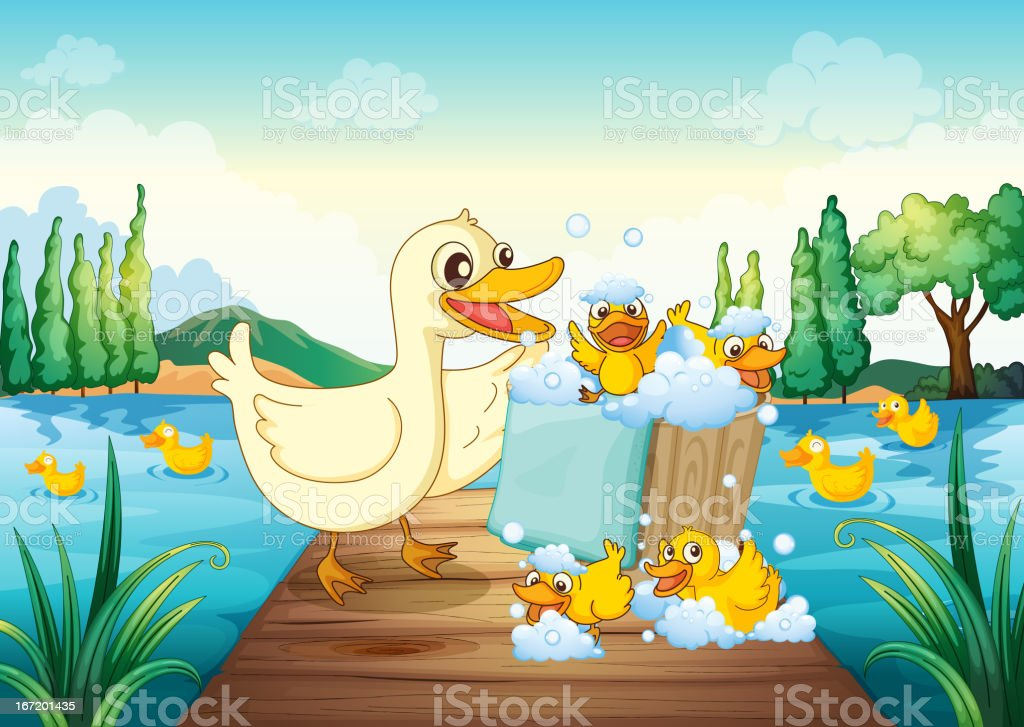 River, a bench and ducks royalty-free river a bench and ducks stock vector art & more images of animal