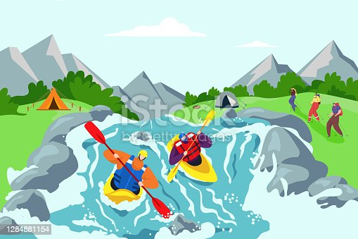 istock River adventure and kayaking travel background, vector illustration. Vacation lifestyle at mountain nature, outdoor hill sport activity. 1284881154
