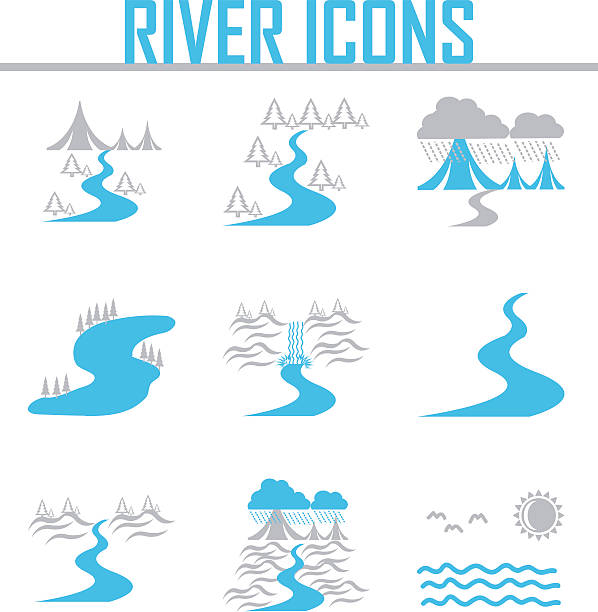 stockillustraties, clipart, cartoons en iconen met river  and landscape icons - rivier