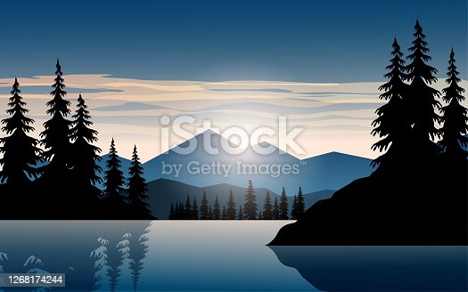 istock River and mountain at sunset 1268174244