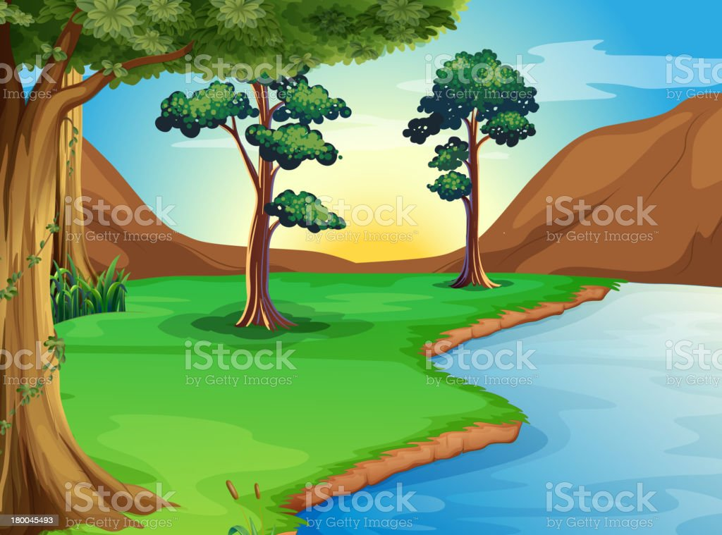 river at the forest vector art illustration
