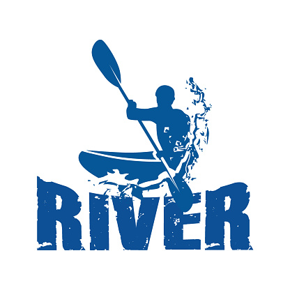 river canoe sport logo with splash water