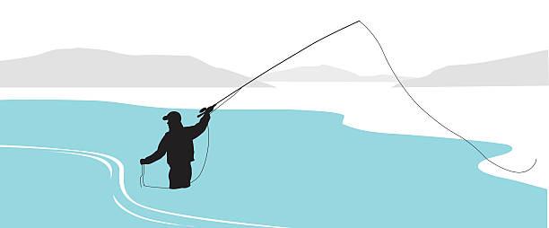 River Fishing Solo A vector silhouette illustration of a mature man fishing waist deep in a blue river among the mountains. wading stock illustrations