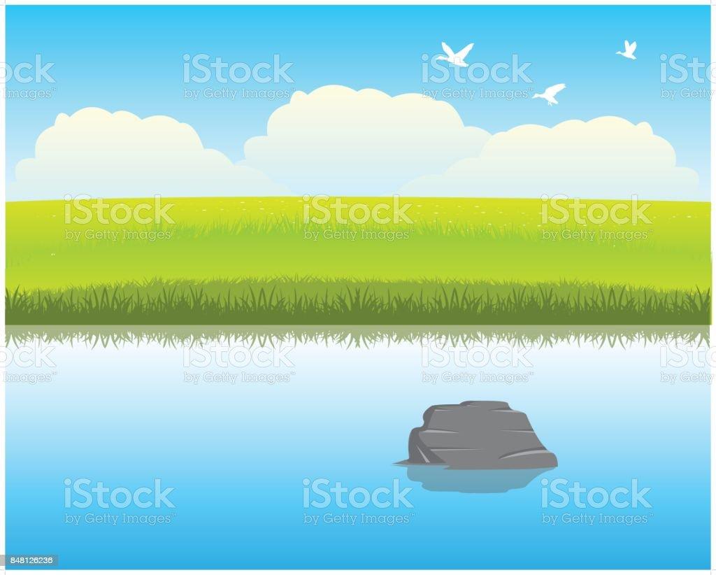 River in steppe vector art illustration
