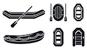 River inflatable boat icons  set. Simple set of river inflatable boat vector icons for web design on white background