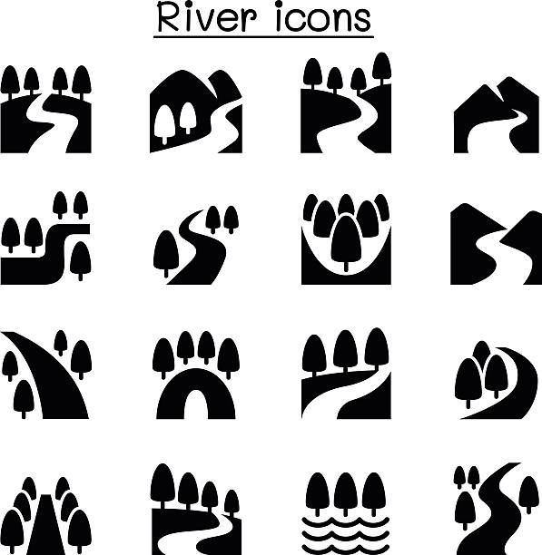 River, Lake , canal nature icons set River, Lake , canal nature icons set valley stock illustrations