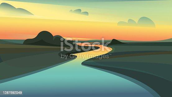 istock River landscape at sunset. 1287592049
