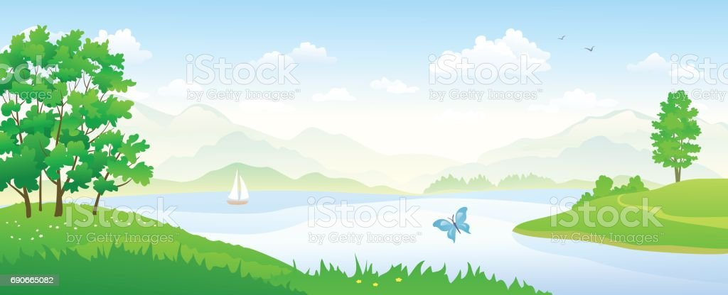 River landscape panorama vector art illustration