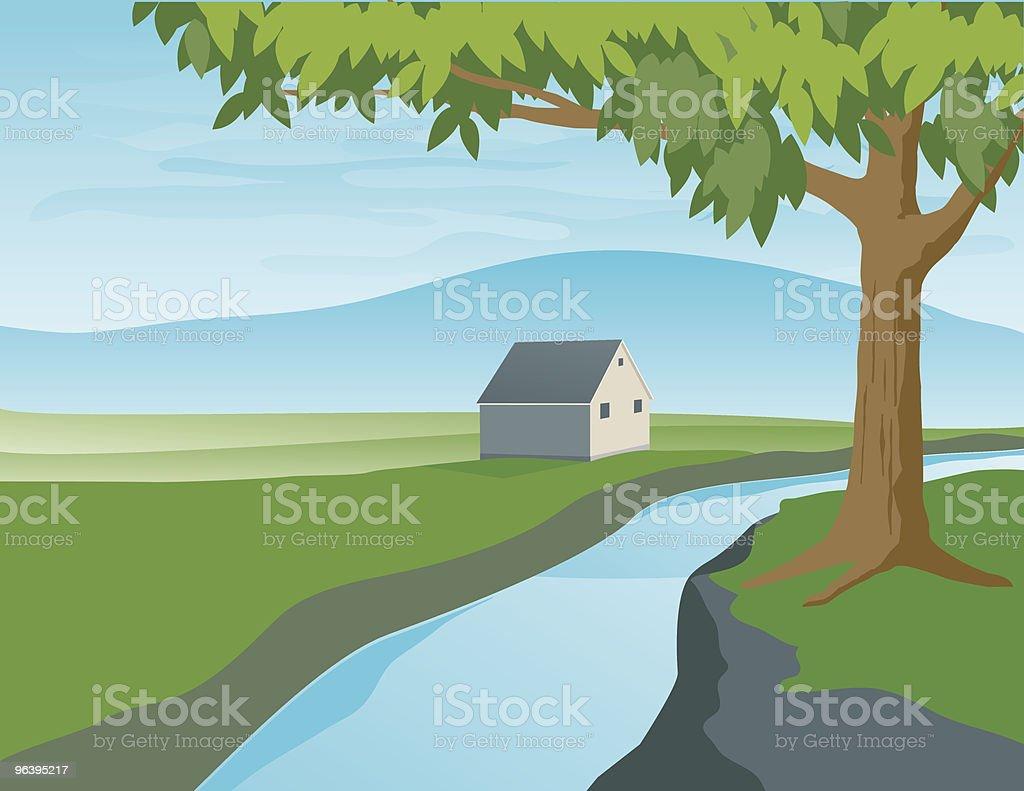 川の風景 - イラストレーションのロイヤリティフリーベクトルアート