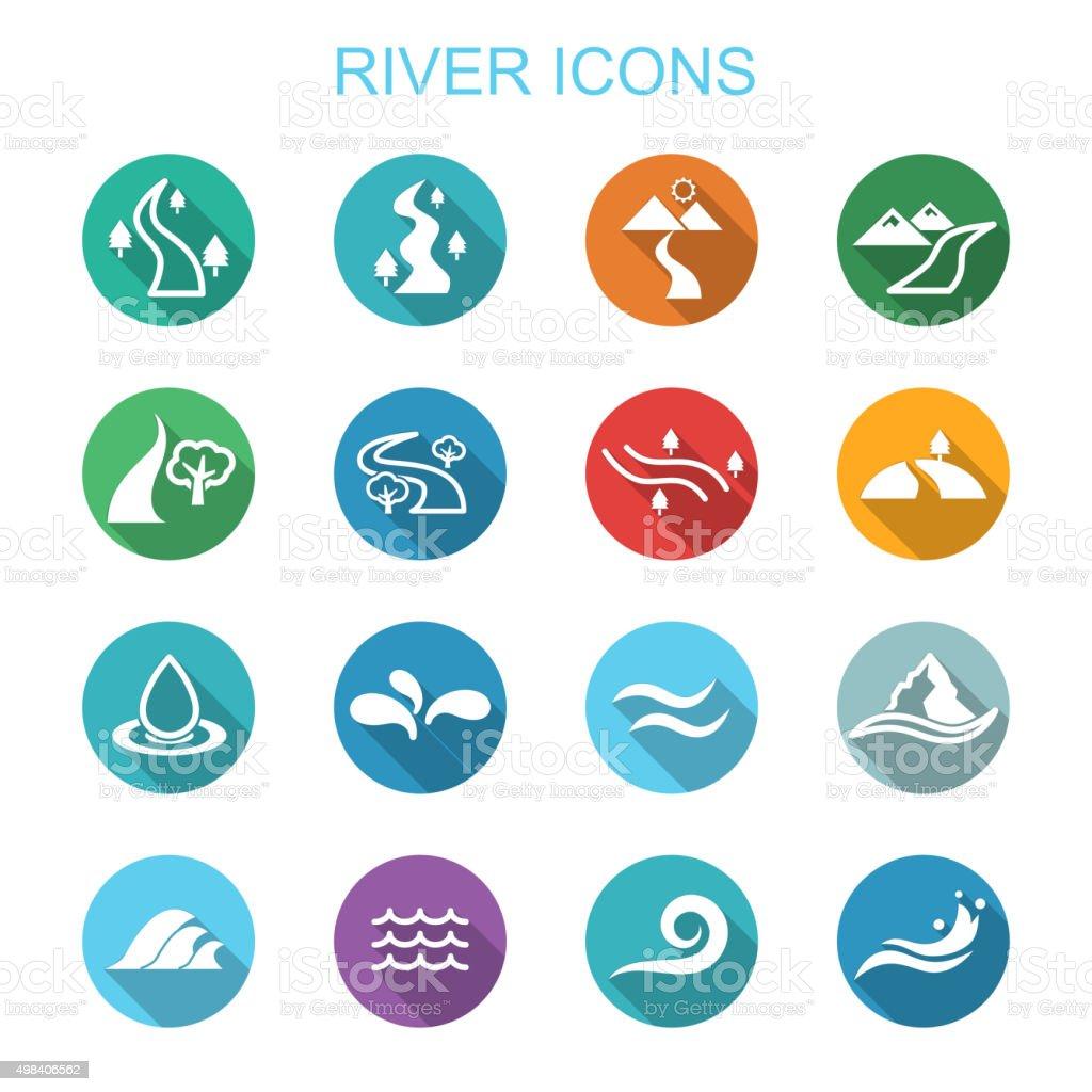 river long shadow icons vector art illustration