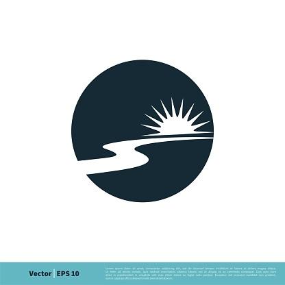 River Pathway / Creek Icon Vector Logo Template Illustration Design. Vector EPS 10.