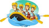 River Rafting cartoon illustration