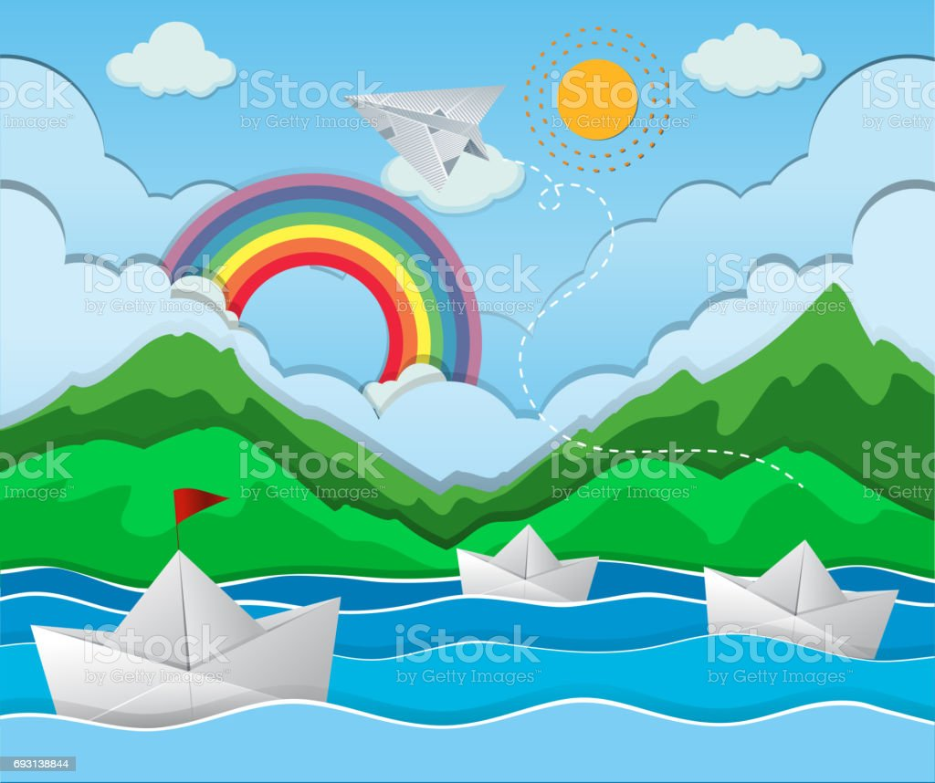 River Scene With Paper Boat Floating Royalty Free Stock