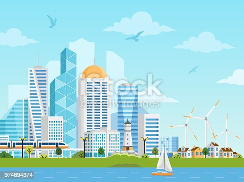 River side landscape with skyscrapers, private houses, subway, boat and windmills. City and suburb vector illustration