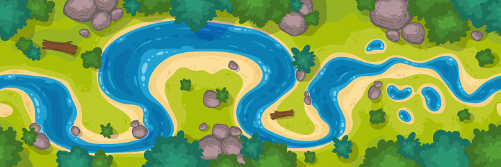 River top view, curve riverbed with blue water