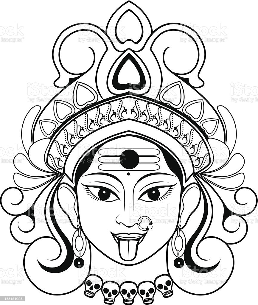 Kali stock vector art more images of asian and indian Coloring book kali
