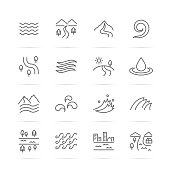 river vector line icons