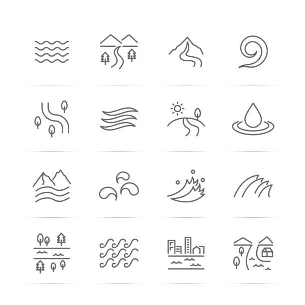 ilustraciones, imágenes clip art, dibujos animados e iconos de stock de iconos de línea de vector de río - lago