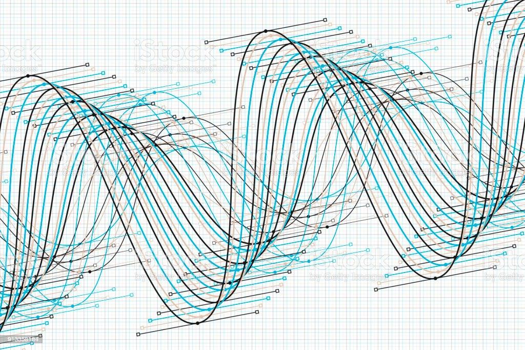 River Vector Sine Wave Graph Pattern Horizontal vector art illustration