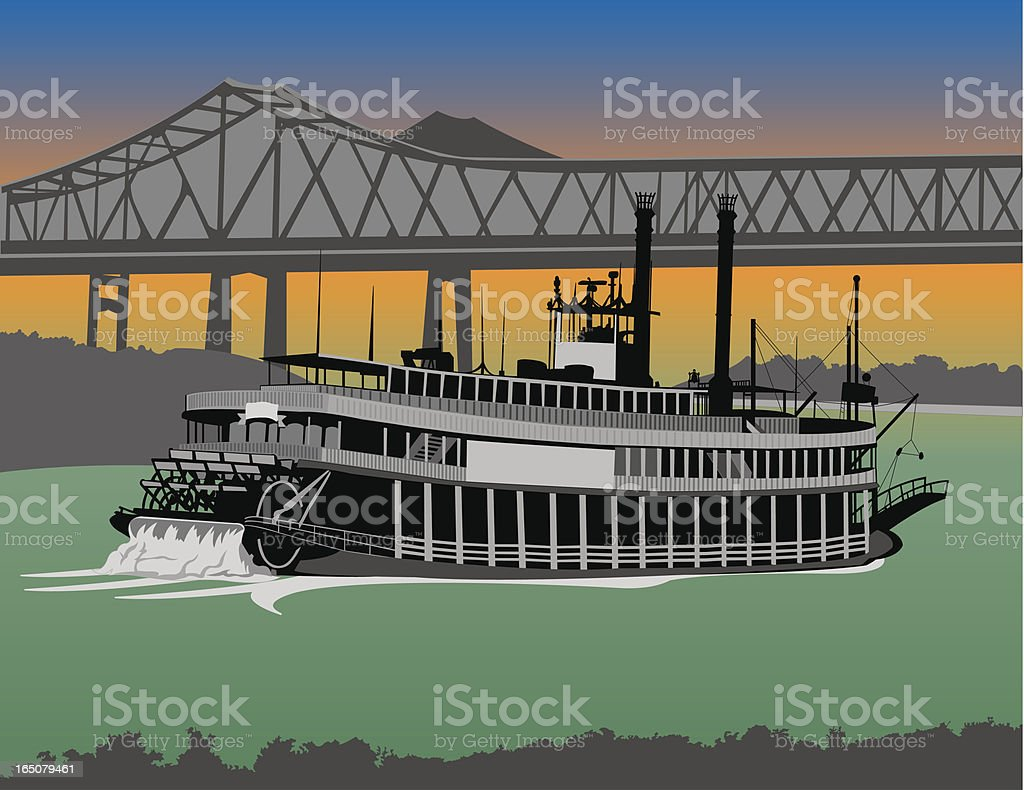 Riverboat on the Mississippi vector art illustration