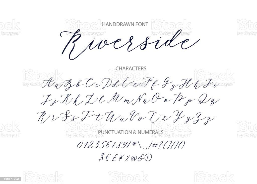 Riverside - fonte de Script manuscrita - ilustração de arte em vetor