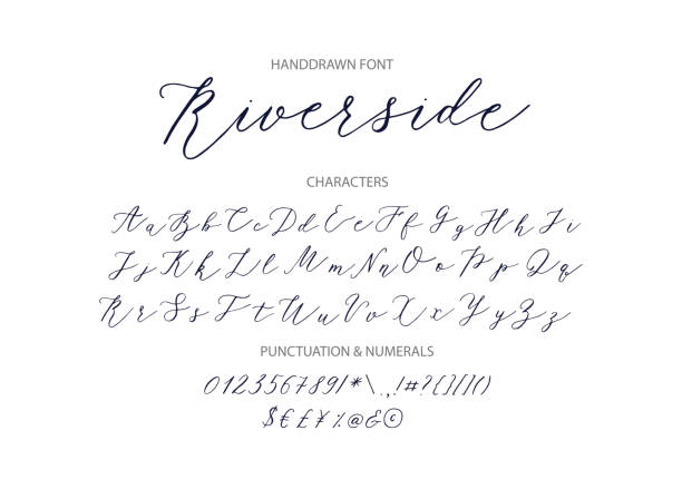 Riverside - handwritten Script font Riverside - handwritten Script font. Hand drawn brush style modern calligraphy cursive typeface. Vector Brush type set. handwriting stock illustrations
