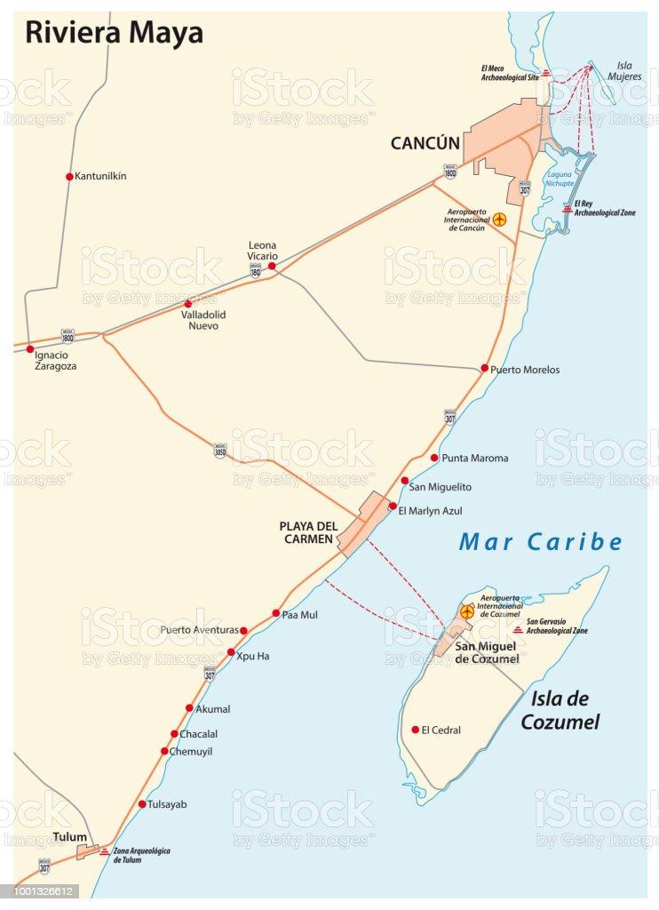 Cancun Quintana Roo Mexico Map.Riviera Maya Road Map Quintana Roo Mexico Stock Vector Art More