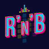 RnB vintage 3d vector lettering. Retro bold font, typeface. Pop art stylized text. Old school style letters. 90s, 80s poster, banner, t shirt typography design. Dark violet color background
