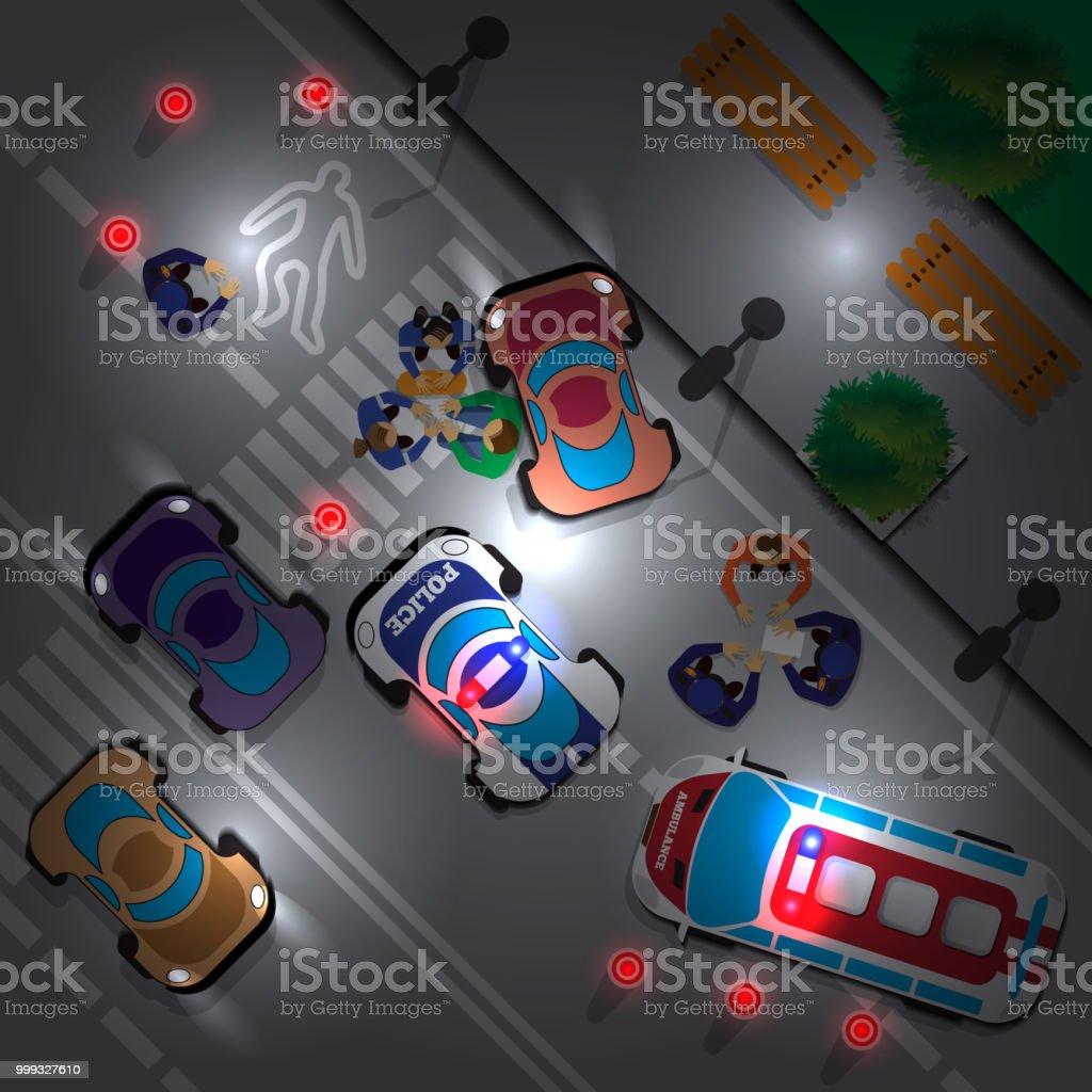 Verkehrsunfall An Der Kreuzung In Der Nacht Stock Vektor Art und ...
