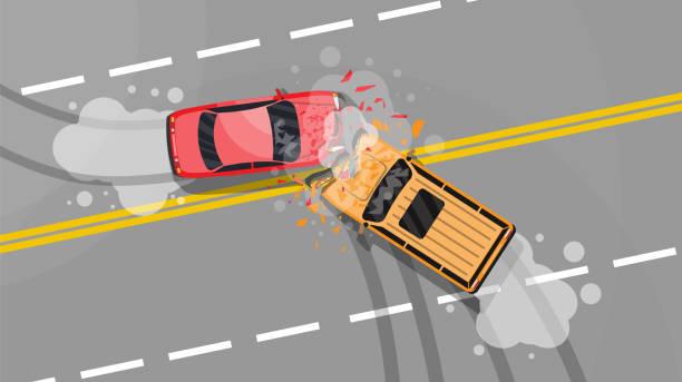 bildbanksillustrationer, clip art samt tecknat material och ikoner med trafikolycka mellan två bilar. - krockad bil
