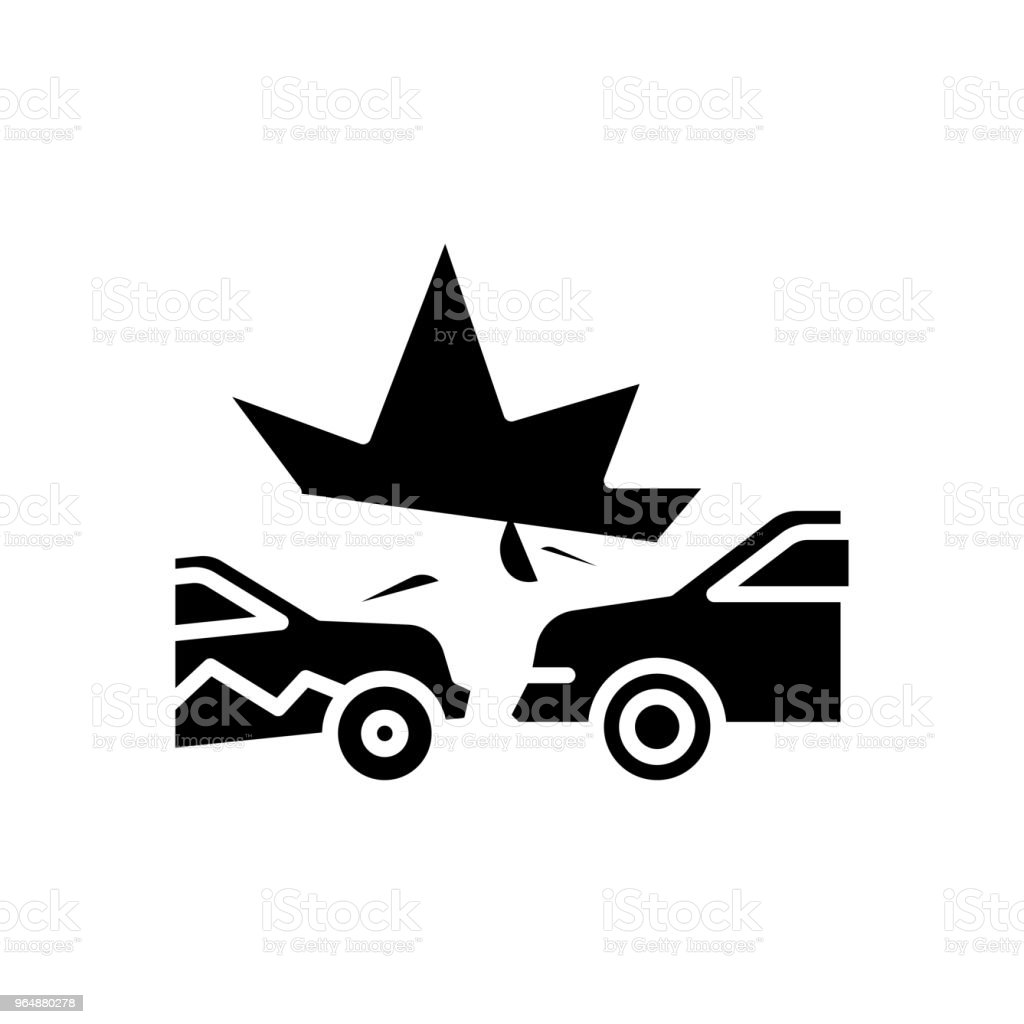 Road accident black icon concept. Road accident flat  vector symbol, sign, illustration. royalty-free road accident black icon concept road accident flat vector symbol sign illustration stock vector art & more images of accidents and disasters