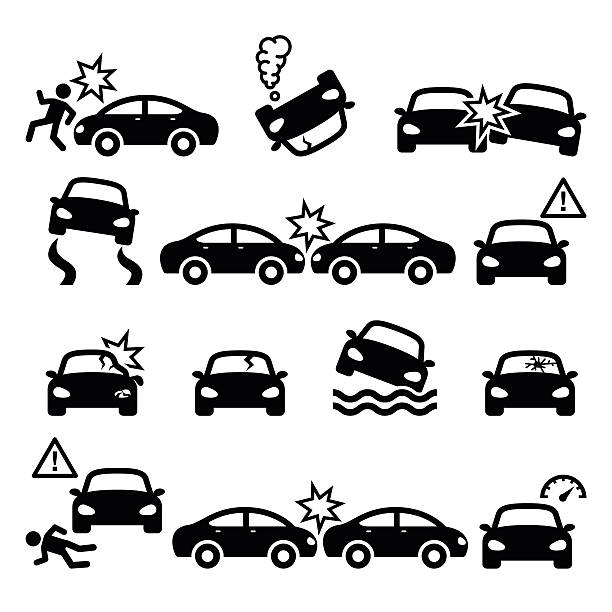Road accident, car crash, personal injury vector icons set Driver crushing car on road, auto wreck icons set isolated on white  damaged stock illustrations