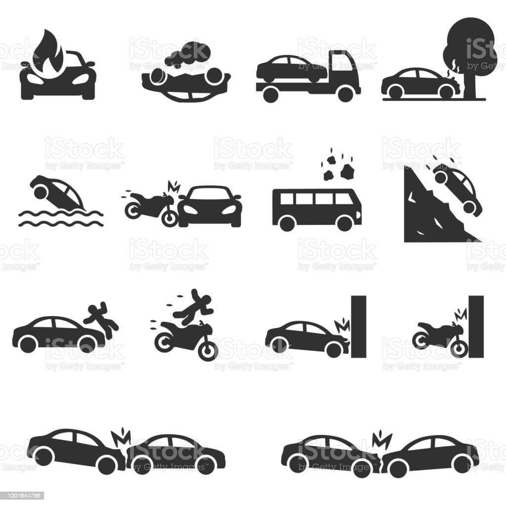 Verkeersongeval, pictogrammen instellen. Ongevallen met een personenauto - Royalty-free Auto vectorkunst