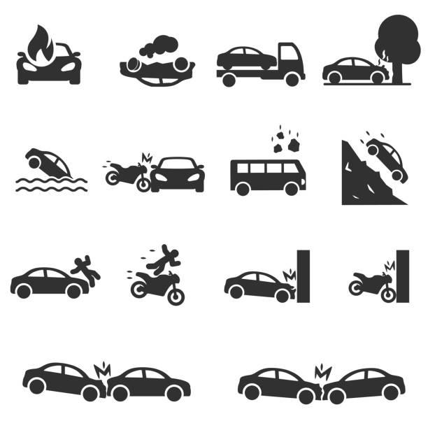 stockillustraties, clipart, cartoons en iconen met verkeersongeval, pictogrammen instellen. ongevallen met een personenauto - ongeluk transportatie evenement