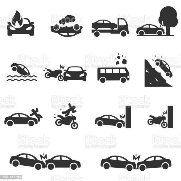 Verkeersongeval Pictogrammen Instellen Ongevallen Met Een Personenauto Stockvectorkunst en meer beelden van Auto